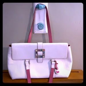 Dooney and Bourke white leather heart hardware